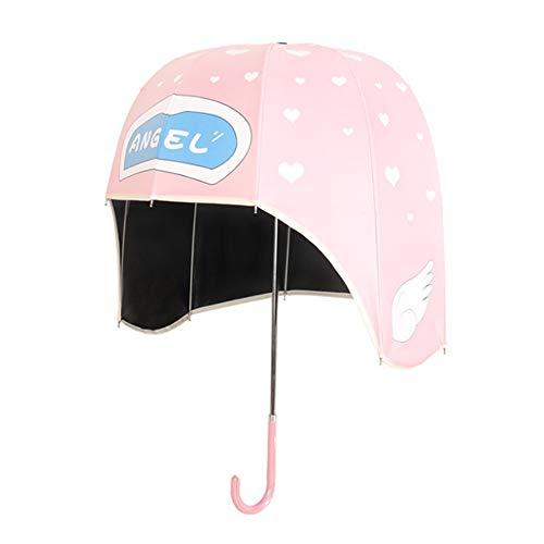 NCBH Helm Shaped Dome Regenschirm, Leichter niedlicher Cartoon Hut Regenschirm kreativ Child Dome Sonnenschirm, Zehn Rippen sind stärker Sonnenschirm und dauerhafter UV-Schutz,Pink