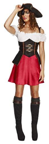 Fever, Damen Piratin Kostüm, Kleid mit Unterrock, Hut und Stiefelüberzieher, Größe: L, 43482
