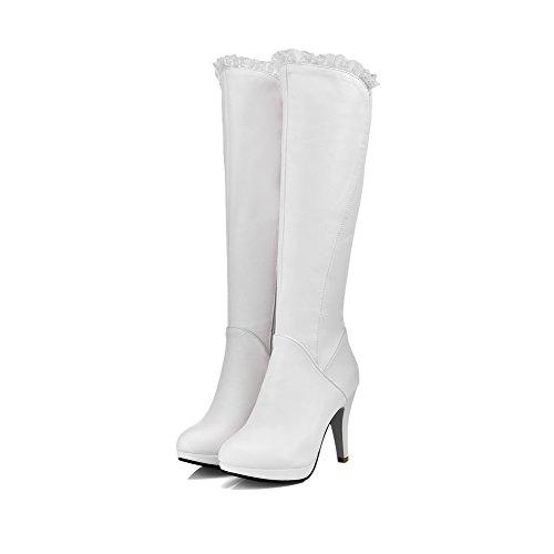 AllhqFashion Damen Rund Zehe Hoher Absatz Weiches Material Mitte-Spitze Rein Stiefel, Weiß, 35