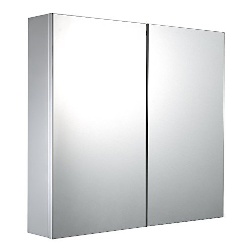 mecor 600 x 600 Stainless Steel Double Door Bathroom Mirror Cabinet Mirrored Bathroom Cabinet