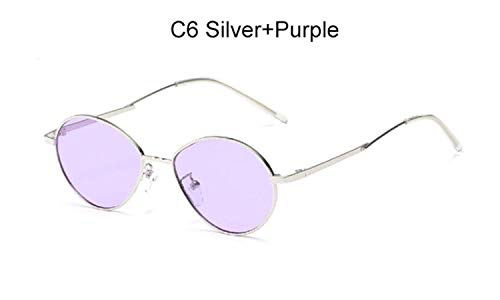 CNSP Brillen,Vintage Sonnenbrillen,2019 Trending Women Small Oval Sunglasses Retro round Metal Frame Candy Colors Fashion Men Clear Red Lens Shades mirror,C6 Silver Purple