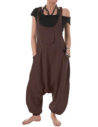 Vishes Vishes - Alternative Bekleidung - Baumwoll Latzhose Haremshose Overall braun 34 bis 36