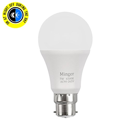 Sensor Light Bulb MINGER 600lm 7W B22 Smart Automatic Dusk to Dawn LED Bulbs with Auto on/off Indoor / Outdoor Lighting Lamp for Porch Hallway Patio Garage ( Cold White) Test
