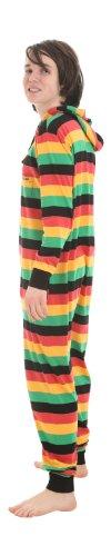 Funzee Strampler für Erwachsene, Reggae Onesie, Ganzkörperschlafanzug, Einteiler, Schlafoverall, Overall Pyjama in körpergrößenabhängigen Unisexgrößen XS-XXL (Petite (XS))
