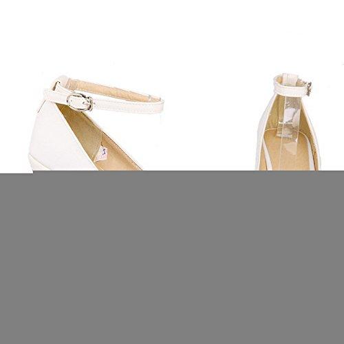 VogueZone009 Femme Boucle Rond à Talon Haut Pu Cuir Couleur Unie Chaussures Légeres Blanc