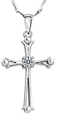 SaySure - 925 sterling silver Platinum plated ladies cross