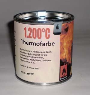 Preisvergleich Produktbild Ofenlack 1200°C Thermofarbe Ofenfarbe Thermolack Schwarz matt 125ml (ad-ideen)