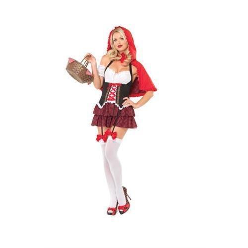 Avenue Leg Red Kostüm Hood Riding - Leg Avenue - Ravishing Red Riding Hood Kostüm 3-teilig - XL - Schwarz/Rosa/Weiß - 83515
