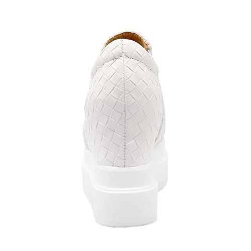 AgooLar Damen Weiches Material Elastic Band Rund Zehe Hoher Absatz Rein Pumps Schuhe Weiß
