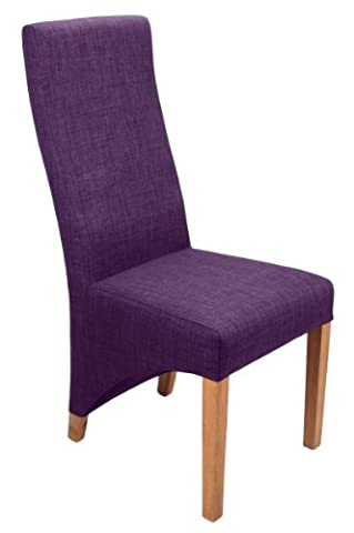 Shankar Baxter Linen Effect Upholstered Dining Chairs, Plum, Set of 2