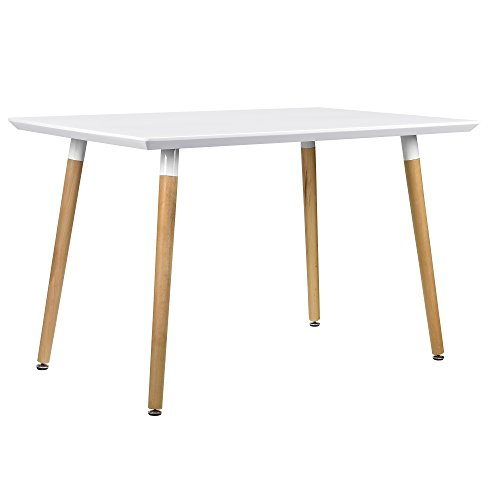 [en.casa] Esszimmertisch für 4 Stühle weiß [120x70cm] Esszimmer Essgruppe Wohnzimmer -