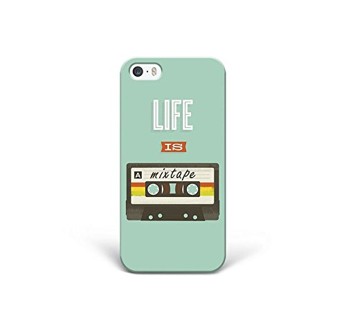 for iPhone 5 - iPhone 5s - iPhone SE - Phone Back Case Hard Cover Custom Personalised Trendy Style Present Modern Design Protective Plastic UK Brand Appfix Life is a Mixtape Retro Old School