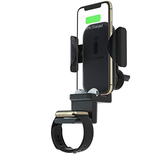 QHJ Handyhalter fürs Auto,Schnelles Drahtloses Auto Ladegerät 3 in 1 Wireless Ladestation für Telefon AirPods iWatch (schwarz) - Wireless Samsung Dock Audio