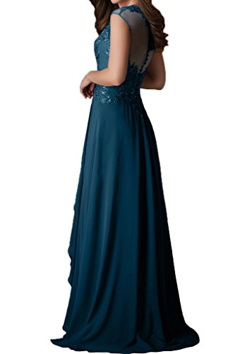 Sunvary Elegant Neu Spitze Mutterkleider Lang Chiffon Falte Abendkleid Neu Kurzarm Blau