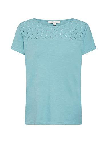 TOM TAILOR Denim Damen Lochmuster T-Shirt, Blau (Mineral Stone Blue 13178), Small