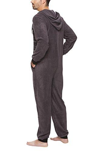 SLOUCHER - Herren Fleece Jumpsuit Jogger Onesie Overall Einteiler mit Reißverschluss und Kapuze, Farbe:Anthrazit, Größe:XXL - 2
