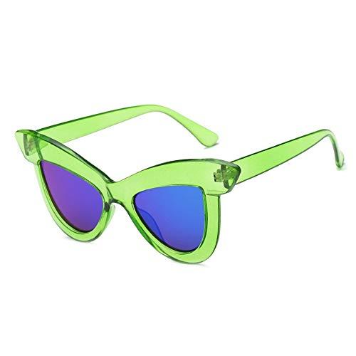 MJDABAOFA Sonnenbrillen, Cat Eye Sonnenbrille Grüner Rahmen, Blaue Linse Mode Frauen Retro Sonnenbrille Vintage Lady Uv400 Brillen