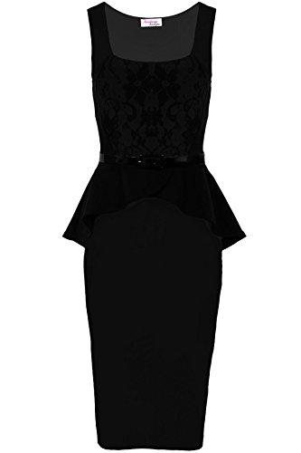 Fantasia - Femmes - Robe moulante péplum sans manches dentelle contraste volant avec ceinture Noir