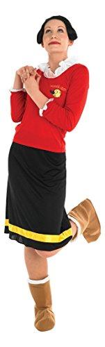 Rubie's Olivia-Damenkostüm Popeye-Lizenzkostüm rot-schwarz-gelb L