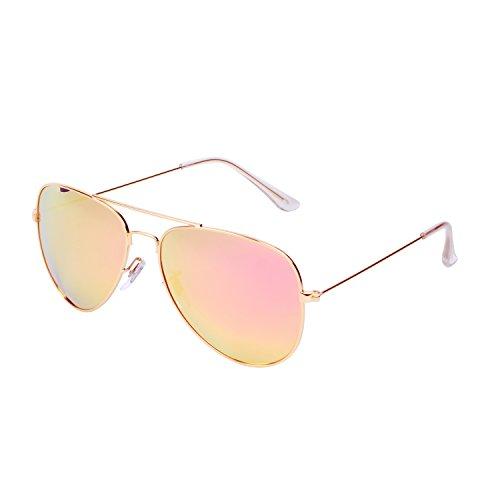 QIXU Polarizadas Gafas de Sol Aviador Rosa para Hombre y Mujer Efecto
