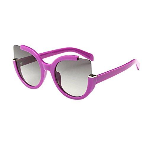 Lila John Lennon Brille (OverDose Unisex Vintage Classic Metallrahmen Sonnenbrille Katzenaugen Brille Reflektierenden Spiegel)