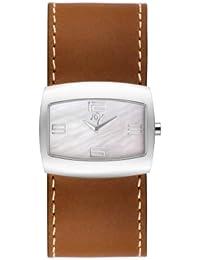 By Joy - JW528 - Semi-Rectangulares - Montre Femme - Quartz Analogique - Cadran Blanc - Bracelet Cuir Brun