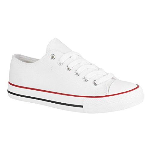 Elara Unisex Sneaker | Bequeme Sportschuhe für Damen und Herren | Low Top Turnschuh Textil Schuhe Chucks-Flach-1-XG200 White-39
