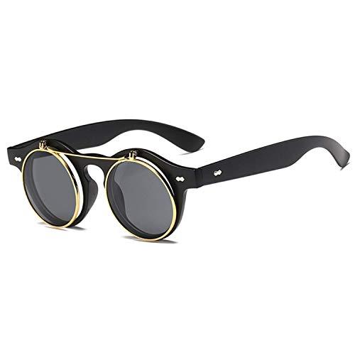 Sport-Sonnenbrillen, Vintage Sonnenbrillen, Fashion Round Steampunk Flip Up Sunglasses Men Women Vintage Double Layer Lens Design Classic Sun Glasses Oculos De Sol UV400