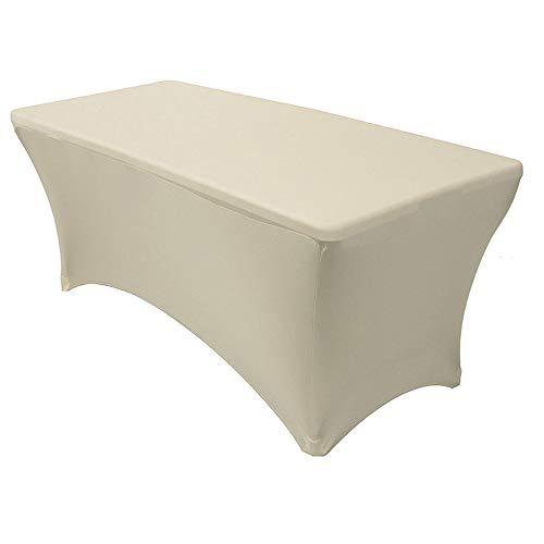 Rechteckige Stretch-Tischdecke Spandex eng anliegend elastisch Tischdecke für Hochzeit, Event, Messe, Bankett, Bock Tischdekoration, beige, 8FT (244x76x76cm) -