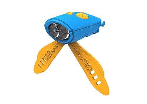 The Mini Hornit - Die verrückte Fahrradklingel für Kinder, mit Sicherheitslicht, blau/orange