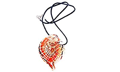 Glass Shell Pendant Necklace and #44; Autumnal Swirl