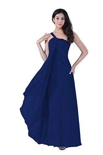 Bridal_Mall Damen Neu Sommer Ein-Schulter Abendkleider Lang Beaded Einfach Chiffon Prom Partykleid Marineblau