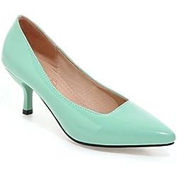 Frauen Niedrige Ferse Spitze Zehe Süßigkeit Farbe der Pumps Schuhe (39, Grün)