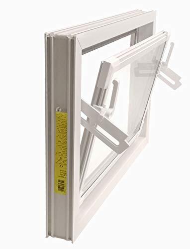 ACO 60cm Nebenraumfenster Kippfenster Einfachglas Fenster weiß Kellerfenster, Größe Kippfenster:60 x 50 cm