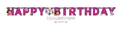 Amscan Quirky Dora's Flower Adventure Jumbo Add-An-Age Letter Birthday Party Banner (1 Piece), Pink/Violet, 10 1/2' x 10 by ()