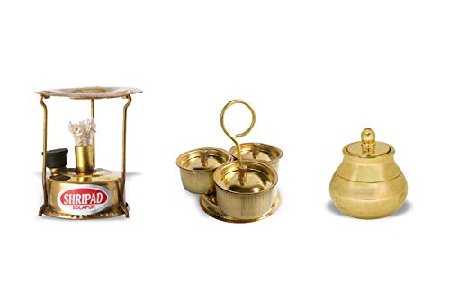 Shripad Steel Home Miniature Brass Kitchen Toys Set of 3