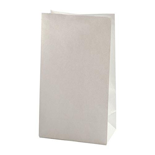 BODA Papiertüten, 100 Stück, weiß, ca. 15 x 9 x 27 cm, mit verstärkten Boden Papierbeutel