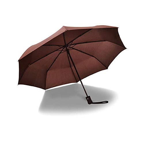 Automatischer Regenschirm, 8 Geflechten, drei Öffnungen, faltbar, Öffnung für die Werbeöffnung, leicht, Reinigungstuch, hohe Dichte, braun