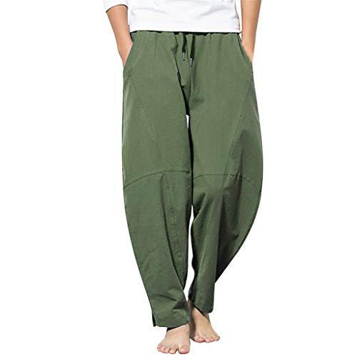 Weites Bein Stoffhose Damen Solid Bettwäsche Baumwolle Einfarbig Loose Long Bettwäsche Crop Trousers -