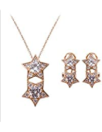 ELECTROPRIME Women KC Gold Plated Two Stars Rhinstone Pendant Necklace Earrings Jewelry Set