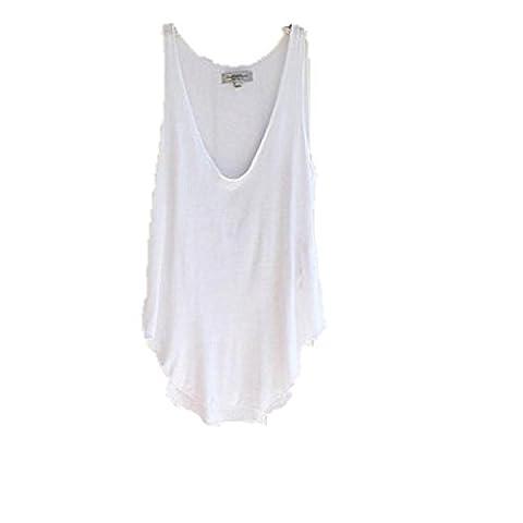 zahuihuiM, Fashion Summer Woman Lady Sans manches V-Neck Candy Vest Loose Débardeurs T-shirt (blanc)