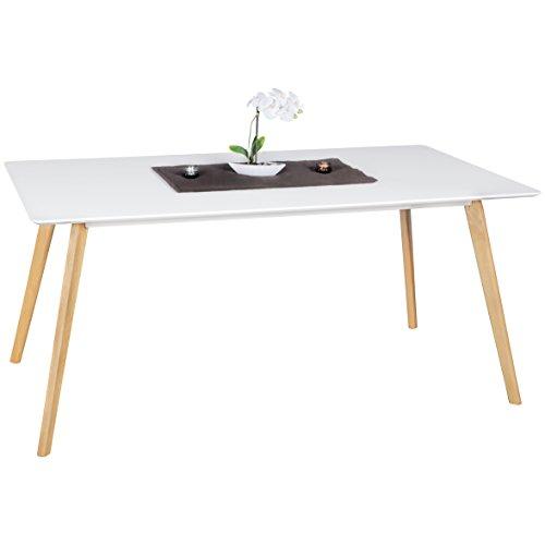 FineBuy Esszimmertisch 160 x 76 x 90 cm aus MDF Holz | Esstisch mit Tischplatte in weiß | Robuster Küchen-Tisch im Retro Stil | Holz-Tisch in skandinavischem Design | Untergestell in Eichefurnier