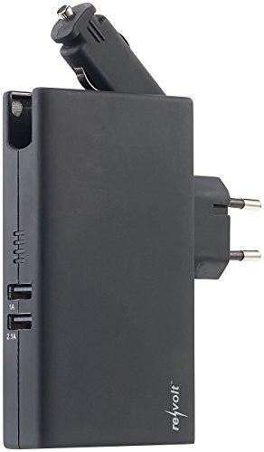 reVolt Kfz Powerbank: Powerbank mit 5.000 mAh, 12/24- & 230-V-Stecker, 2X USB, 3,1 A, 15,5 W (Handyladestecker) -