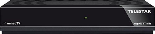 Telestar digiHD TT5 IR DVB-T2 HD Receiver mit Irdeto Entschlüsselung (Freenet TV, Empfang von privaten und öffentlich-rechtlichen Sendern, H.265/HEVC, inkl. 3 Monate Guthaben, HDMI, AV-Ausgang, USB, LAN) schwarz