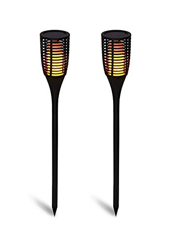 Näve Solar Garten Fackel neueste Generation mit 96 eingebauten LED´s für ein noch atemberaubendes Feuer LED 1 W, Schwarz, 78cm