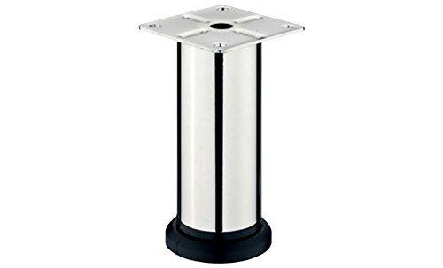 Gedotec DESIGN Möbelfuß LISA verstellbar Sockelfuß Verstellfüße aus Stahl | Höhe 200 mm | mit Höheneinstellung + 20 mm | Chrom poliert | 1 Stück