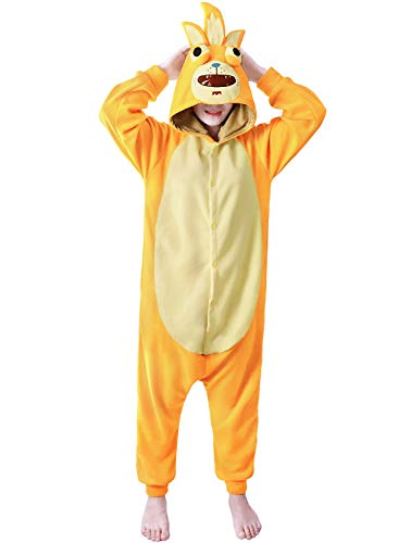 dressfan Animal Jumpsuit Rick Onesie Sleepwear Adult Pajamas Unisex Polar Fleece Performance Costum(Blue/Yellow)