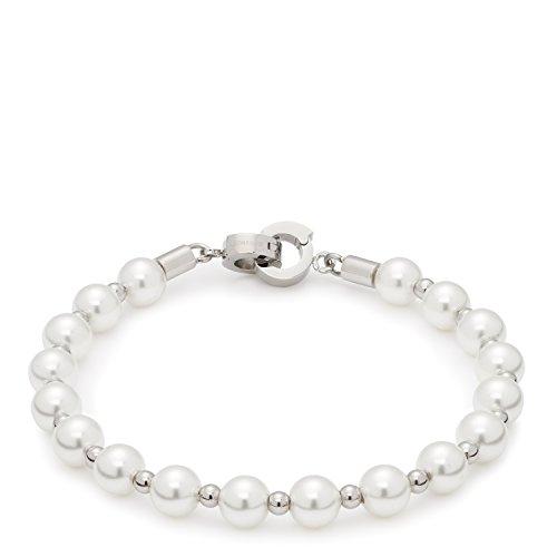 Leonardo Jewels Damen-Armband Darlin's Signora Edelstahl Glas Perle creme 18.5 cm - 015860 (Creme Perle Armband)