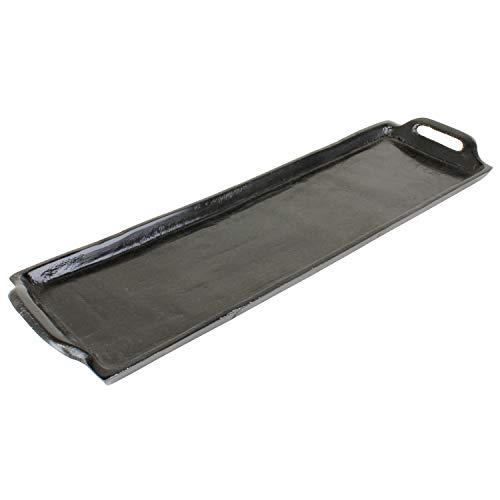 MACOSA LC185917 Deko-Tablett mit Griffen 44 cm lang schwarz rechteckig Metall Tisch-Dekoration Kerzenteller Servierplatte Obsttablett Wohn-Accessoire