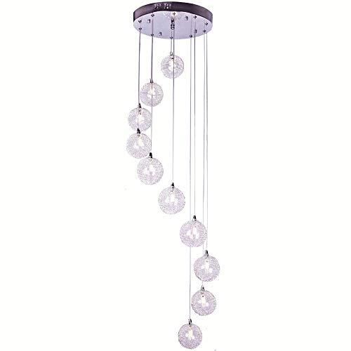 2 m de hauteur 10 lumières Fil d'aluminium boules de Noël en verre d'escalier Lustre moderne salle de séjour Salon lampe suspendue Mode de cuisine salle à manger Restaurant Bar Comptoir Pendentif luminaires